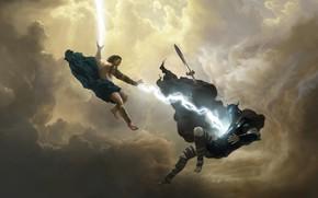 Picture the sky, man, sword, warrior, fight, Wonder Woman Mural Art Series