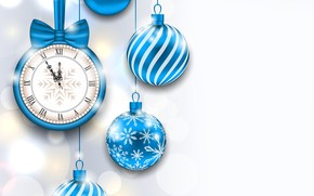 Picture time, glare, background, holiday, balls, watch, new year, Christmas, vector, blue, midnight