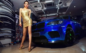 Picture auto, look, Girls, BMW, Asian, beautiful girl, is above the machine