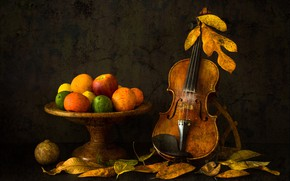 Wallpaper leaves, violin, fruit, Autumn Mood
