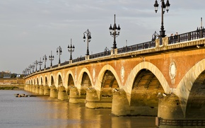 Picture France, Lights, Bridge, France, Bordeaux, Bordeaux, Garona, Stone Bridge, Stone bridge, The Pont de Pierre, ...