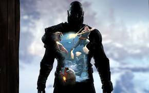Picture game, demigod, weapon, Kratos, God of War, man, animal, fang, bow, viking, warrior, children, kid, …
