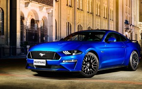 Picture blue, Ford, Fastback, 2018, Mustang GT