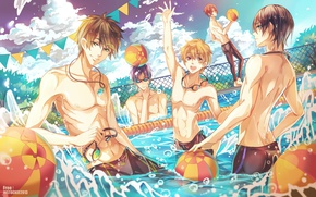 Picture the sky, water, joy, squirt, the ball, pool, glasses, Free, guys, friends, vacation, whistle, ryugazaki …