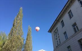 Picture the city, house, balloon, spring, morning, Yoshkar-Ola, tree