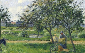 Picture trees, landscape, picture, Camille Pissarro, A farmer with a Cart in the Garden
