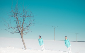 Picture snow, tree, tilt, two girls