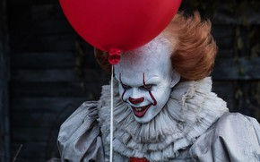 Picture Red, Clown, Bill Skarsgård, 2017, Pennywise, It