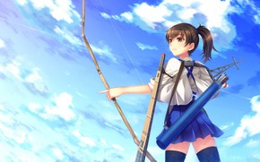 Picture the sky, clouds, stockings, bow, arrows, long hair, quiver, Kantai Collection, Naval Collection, Kaga