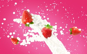 Picture squirt, berries, milk, strawberry, splash.