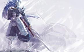 Picture sword, anime, warrior, art, Blazblue
