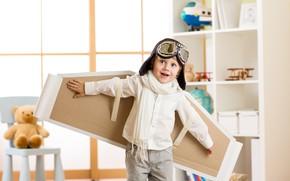 Picture joy, child, boy, glasses, pilot, shirt, smile, wings, boys, glasses