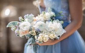 Picture girl, bouquet, dress, Irina Nedyalkova