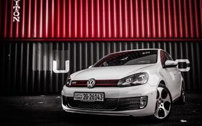 Picture Volkswagen, White, Golf, GTI