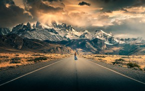 Picture road, the sky, girl, clouds, mountains