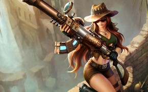 Picture League of legends, Weapons, Gun, Caitlin, Caitlyn, Hat, Hat, Girl, Gun, LoL, Riot Games, Shorts, ...