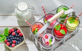 Picture berries, raspberry, milk, blueberries, strawberry, lime, fruit, drinks, cocktails