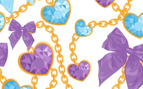 Picture Hearts, Background, Chain, Texture