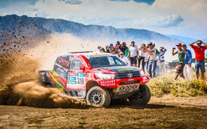 Picture Sand, Red, Mountains, Sport, Speed, People, Race, Skid, Dirt, Day, Lights, Toyota, Heat, Hilux, Rally, ...