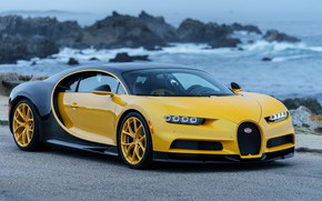 Wallpaper hypercar, Chiron, Yellow and Black, 2018, Bugatti, coast