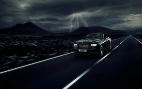 Picture car, Rolls Royce, asphalt, fast, Rolls Royce Dawn Black Badge