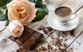Wallpaper flowers, coffee, chocolate, roses