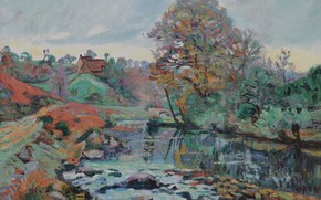 Picture landscape, river, picture, Arman Hyomin, Armand Guillaumin, Landscape Of The Creuse, The view from the …