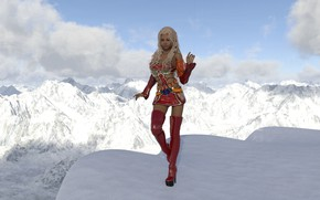Picture winter, girl, mountains