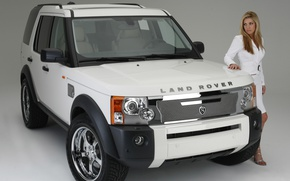Picture look, girl, background, Girls, blonde, Land Rover, white car