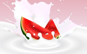 Picture background, watermelon, milk, berry, slices