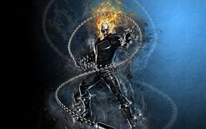 Wallpaper fire, sake, Ghost Rider, fantasy, Marvel, comics, digital art, artwork, superhero, fantasy art, flames, chain