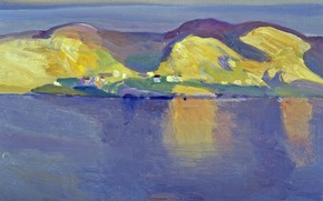 Picture sea, landscape, island, home, picture, Rockwell Kent, Rockwell Kent, Conception Bay. Newfoundland