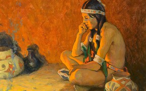 Picture containers, Eanger Irving Couse, thoughtful Indian, The Thinker