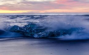 Picture ice, sea, shore, Iceland, lump