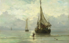 Picture boat, ship, oil, picture, sail, canvas, seascape, Calm Sea, Hendrik Willem Mesdag
