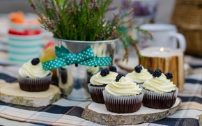 Picture berries, sweet, cupcakes, cream, cake