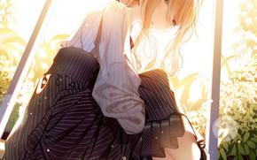 Picture girl, anime, Skirt, Violet Evergarden