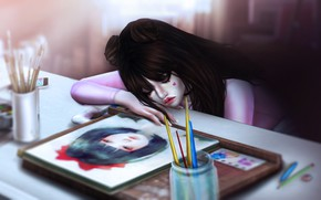 Picture night, figure, the situation, anime, art, artist, girl, picture