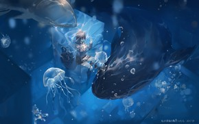 Picture girl, anime, art, jellyfish, under water, qqwew00123
