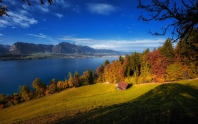 Wallpaper Lake Thun, autumn, The Bernese Alps, Lake Thun, lake, trees, Switzerland, Bernese Oberland, Bernese Oberland, ...