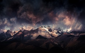 Picture clouds, mountains, clouds, Tibet