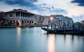 Picture river, home, boats, Venice