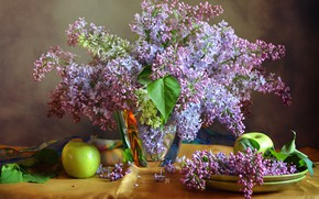 Picture flowers, table, apples, green, plates, vase, still life, lilac, tablecloth
