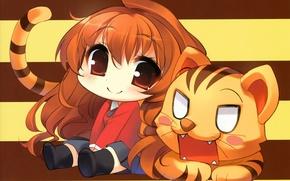 Picture mouth, tail, red, tiger, sitting, Aisaka Taiga, Toradora!, chibiki, the half-smile, by Yuta