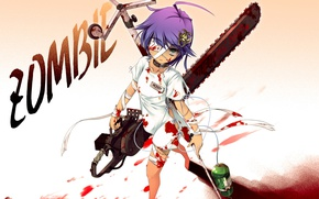 Picture zombie, scar, art, chainsaw, bandages, eye patch, dropper, a pool of blood, patient, Chima