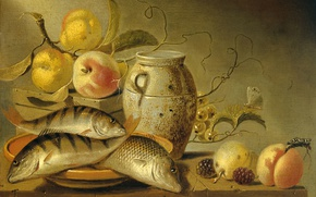 Picture tree, oil, picture, Harmen van Steenwijk, Still life with Clay Pitcher, Fish and Fruits