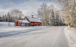 Picture winter, road, house