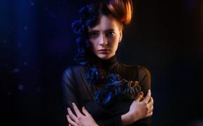 Wallpaper model, Eva Lapenko, Alexander Drobkov-Light, the dark background, roses, hairstyle, flowers, look, pose, portrait, hands, ...