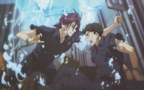 Picture salvation, two, friends, under water, handcuffs, free, two guys, police, matsuoka rin, freestyle, sousuke yamazaki, …
