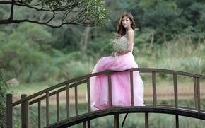Picture girl, flowers, bridge, beauty